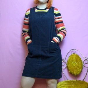 💙 Vintage Y2K blue corduroy overall dress 💙